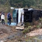 The scene of a bus crash on State Highway 5 at Ngatira. Photo: NZME