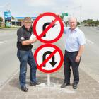 Business owners Bob Shearing and Mark Lewis want a turning bay installed on Main South Rd off...
