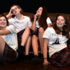 Logan Park High School pupils (from left) Isabel Townsley (16), Isabella McLean (16), Marnie O...