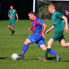 Mid Canterbury United striker Luke Martin bagged two goals on Saturday and was a sharp shooter...