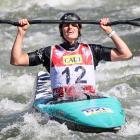 Tauranga kayaker Luuka Jones celebrates after claiming a historic bronze medal at the canoe...