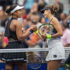 Naomi Osaka (left) and Belinda Bencic shake hands after their match this morning at the US Open....
