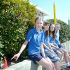 Balclutha Primary School prefects (from left) Kayley Strachan and Leticia Cochrane (both 13), and...