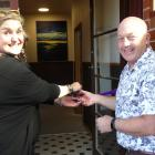 Gore and Clutha Women's Refuge manager Sam Munro and Clutha Mayor Bryan Cadogan open the refuge's...