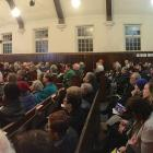 Candidates in the  Dunedin City Council election set out their positions in front of a crowd of...