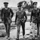 Lieutenant Durrant (wireless operator), Major Scott (commander) and Major Cooke (navigator) of...