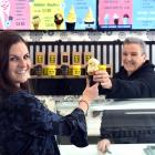 Smokefree Otago Coalition representative Catherine Thomas opts for an ice cream over a packet of...