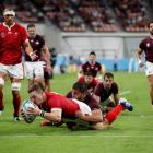 Wales' George North scores their sixth try against Georgia. Photo: Getty Images