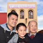 Three generations of a well-known Dunedin family - Marcus (37), left, and Chace (5) Sew Hoy, with...