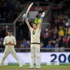 Steve Smith celebrates reaching a double century for Australia against England. Photo: Getty Images