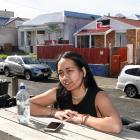 "Outside her Hyde St flat, ""The F Shack'', in Dunedin yesterday is Tamara Tawhai (20), who has..."