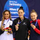 Sarai Gascon of Spain (silver) Sophie Pascoe of New Zealand and Toni Shaw of Great Britain ...