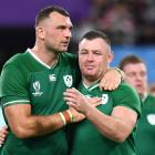 Ireland's Tadhg Beirne and Dave Kilcoyne celebrate after the match. Photo: Reuters