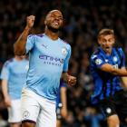 Raheem Sterling celebrates scoring for Manchester City against Atalanta. Photo: Reuters