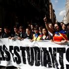 Students protest after a verdict in a trial over a banned Catalonia independence referendum in...