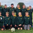 Mid Canterbury's 11th grade football team, back row, Lisa Elliott (manager) Jamieson Arras,...