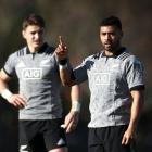 Beauden Barrett and Richie Mo'unga at All Blacks training. Photo: Getty Images