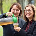 Artemis founder Sandra Clair (left) enjoys Artemis herbal tea with University of Canterbury (UoC)...