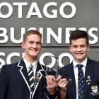 Oak Cologne's Ben Mason (18, left) and Thomas Geary (17) claimed the top spot at the Otago...