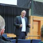 National Party agriculture spokesman Todd Muller discusses proposed freshwater legislation at a...