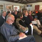 "Crowd members listen to the ""making sense of carbon on your farm'' meeting in Pleasant Point...."