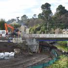 Construction work at the Dundas St Bridge. PHOTO: GREGOR RICHARDSON