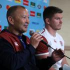 Eddie Jones (left) and Owen Farrell at yesterday's Rugby World Cup press conference. Photo: Getty...