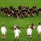 The England team face the Haka. Photo: Getty Images