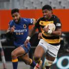 Waisake Naholo, playing for Taranaki against Otago last month, runs hard at Forsyth Barr Stadium,...
