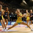 Gretel Tippett turns to take a shot during Australia's loss to the Silver Ferns in Christchurch...