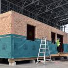 The climate-safe house being built at Forsyth Barr Stadium. PHOTO: PETER MCINTOSH