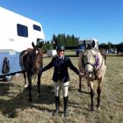 Mel Morris is looking forward to competing at the Rangiora Show on Malluka, left, and Kosciuszko....