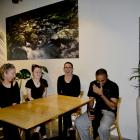 Fools of Desire Cafe co-owner Elisa Leach, left, with staff members Taylor, Amy and Gary in the...