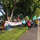 Protestors at Latimer Square protesting outside a Christchurch hotel where a gas conference is...