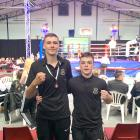 Successful Dunedin boxers Awatea Henry (left) and Kasib Murdoch at the national championships in...