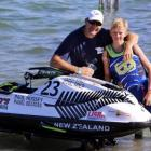 Christchurch Boys' High School jet skier Corban Farnley, right, with his Dad, Chris after winning...
