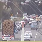 A traffic camera on QE II Drive showing a congested Marshland Rd after the crash.
