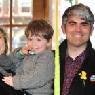 New mayor Aaron Hawkins celebrates with his wife Anya Sinclair and son Emile Hawkins (3). Photo:...