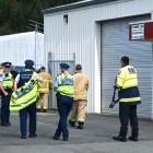 Emergency services attend an explosive chemical alert in Kenmure, Dunedin yesterday. PHOTOS:...