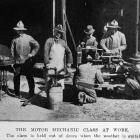 The motor mechanics' class at work  as part of the returned soldiers' vocational training at...