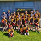 Oamaru Albion Cricket Club junior players are joined by Otago Volts players (back from left) Cam...