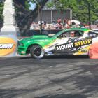 Drift specialist Shane Allen's 2008 Ford Mustang throws a bit of colour up at last year's Waimate...