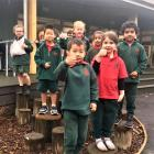 Oaklands School junior pupils outside their newly completed block. ...