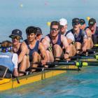 The Otago men's open coxed eight of (from left) Jake Burgess (coxswain), Reuben Cook, Angus Kenny...