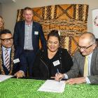 Signing a collaboration agreement at the Ministry for Pacific Peoples Tupu Aotearoa event on...