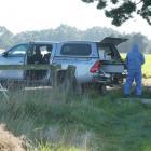 Forensic team at the Rakaia property where a homicide occurred. Photo: John Keast