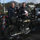 Colin Winter (left), the owner of a BSA 1926 Deluxe motorbike, and his son Gary Winter, who rode...