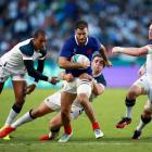 Sofiane Guitoune of France is tackled during the Rugby World Cup 2019 Group C game between France...
