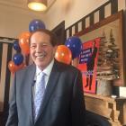 Invercargill Mayor Tim Shadbolt celebrating his victory today. Photo: Luisa Girao