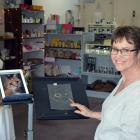 The Little Green Shop owner and operator Tina Tunster sketches a likeness of Humphrey the cat in...